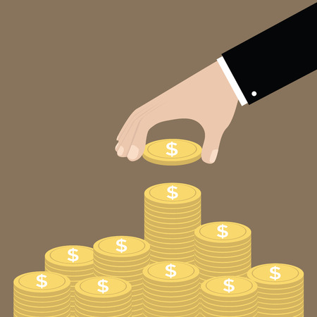 making money: Hand put coin to money staircase. Profit. Making money. For business and finance concept vector. Illustration
