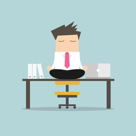 nirvana: Businessman meditation in office. yoga at job. young man relaxing in lotus position on table with computer at work