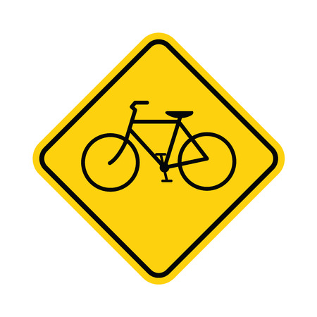 one lane street sign: Bicycle traffic warning on white vector Illustration