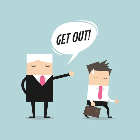 resign: Angry boss firing employee. Layoff concept, jobless and employee job reduction concept vector. Illustration