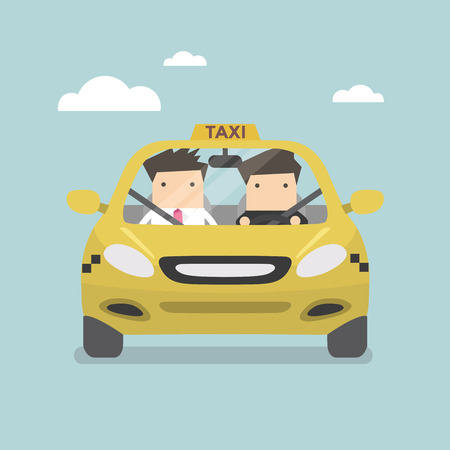 chauffeur: Taxi car and taxi driver with passenger. Vector