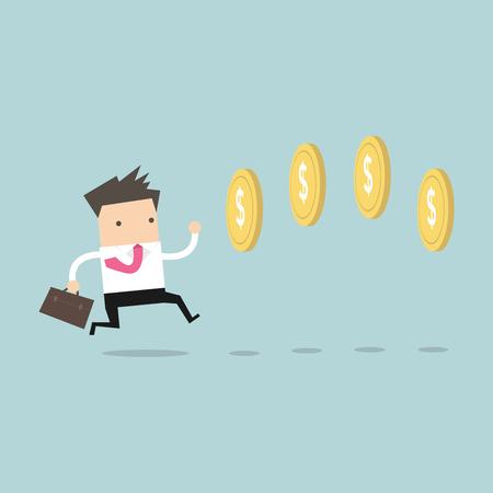 prosperidad: Empresario persiguiendo monedas de estilo de juego de vídeo. Vector