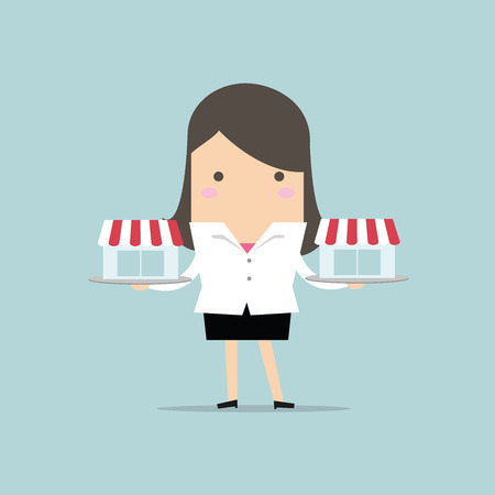 Businesswoman with franchis shop on tray, franchise concept. vector. flat design