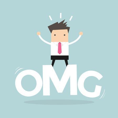 disconcert: Businessman surprise stand on oh my god word. vector Illustration