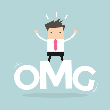 Businessman surprise stand on oh my god word. vector Illustration