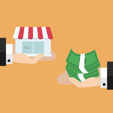 barter: Two hands exchange between money and shop.