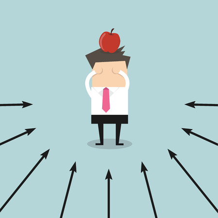 targeted: Businessman with targeted apple on his head in success concept, Market and success