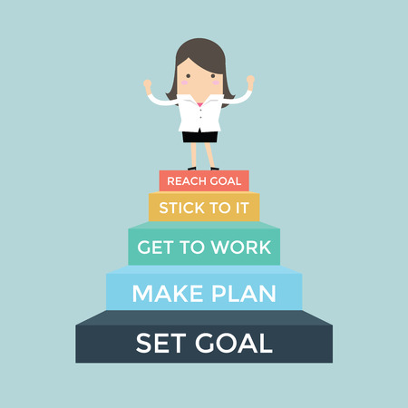 going up: Businesswoman going up to success, Set and reach goal concept