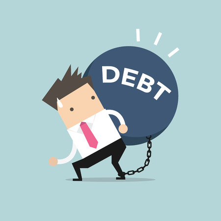 ball and chain: Businessman carry debt. Financial concept vector.