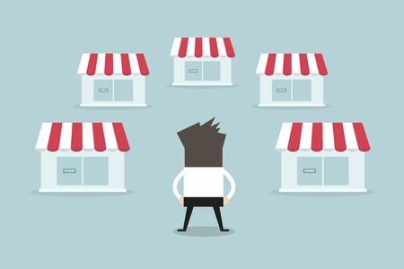 franchise: Businessman with shop franchise concept. business concept. flat design