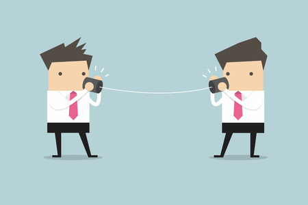 Businessmen talking on can phone vector Vectores