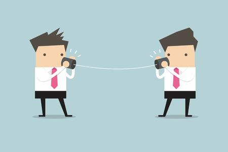 Businessmen talking on can phone vector Stock Illustratie