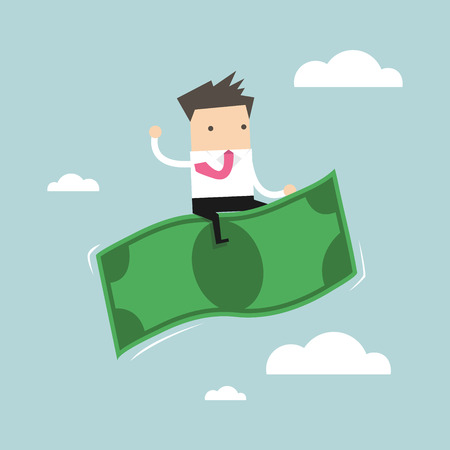 stock market launch: Businessman riding flying money vector Illustration