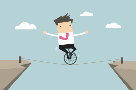 rope walker: Businessman balancing on the rope vector Illustration
