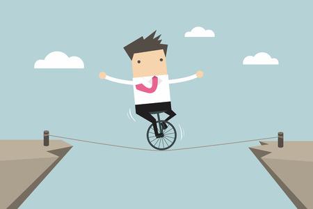 dangerous work: Businessman balancing on the rope vector Illustration