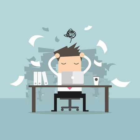Besetzt Zeit der Geschäftsmann in hart arbeiten. Viel Arbeit. Stress bei der Arbeit. Vektor Vektorgrafik