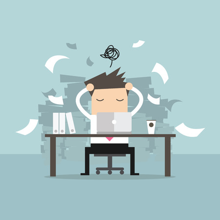 annoyance: Busy time of businessman in hard working. A lot of work. Stress at work. vector