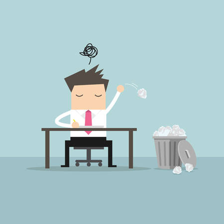 crumpled paper ball: Businessman have no idea and throwing crumpled paper to trash. vector