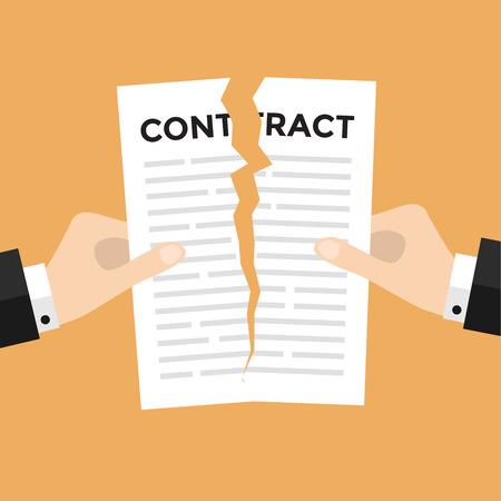 実業家の手を離れて引き裂く契約文書ベクトル