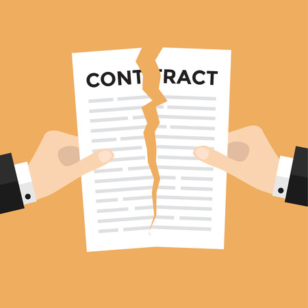 apart: Businessman hands tearing apart contract document vector