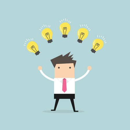new ideas: Businessman with many new ideas. Business concept vector