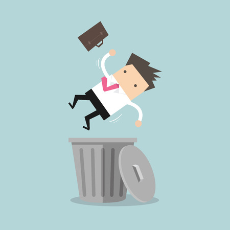 lay down: Businessman dropped into trashcan layoff concept