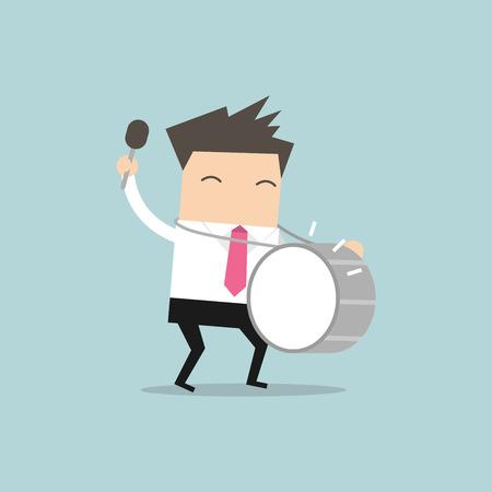 joyousness: Businessman with big drum vector