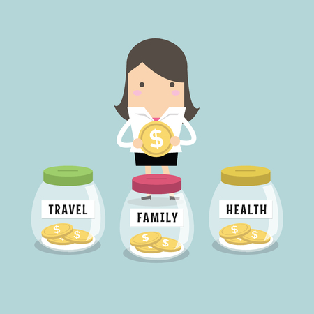 woman holding money: Businesswoman saving money for Family, Health and Travel Illustration