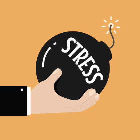 stressful: Stress and stressful situation concept. Hand holding bomb with burning fuse and stress text on it. vector