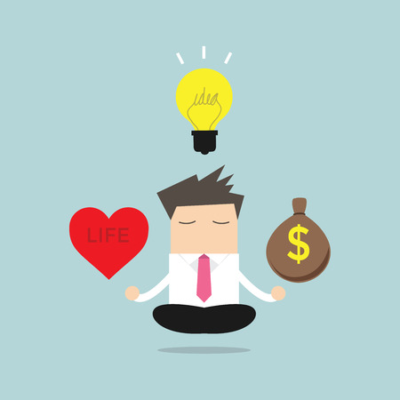 Businessman meditation balance between ideas, money and life. vector Illustration