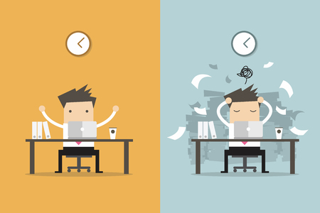 El hombre de negocios de trabajo de acabado y de negocios ocupado trabajo inacabado. Concepto de negocio vector de la historieta. Foto de archivo - 60388842