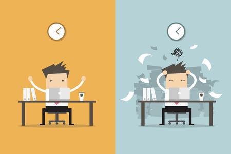 Imprenditore finitura di lavoro e di affari occupato lavoro non finito. Business concetto di vettore del fumetto. Vettoriali