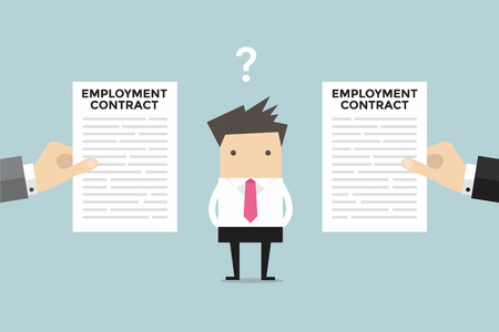 Businessman with two employment contract offer from two companies. vector Vectores