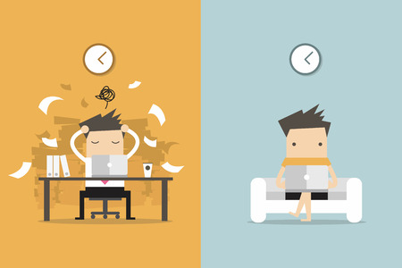 empleado de oficina: El hombre de negocios y la vida independiente. concepto de negocio vector de la historieta