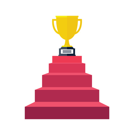 Stair step go to Trophy and success, winning. Flat style, vector