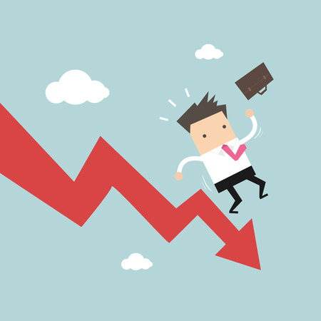 falling down: Businessman On Falling Down Chart. vector