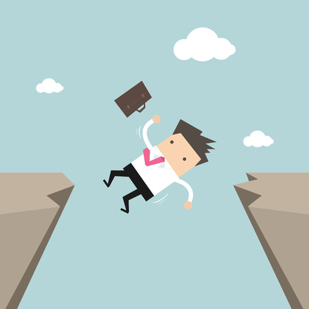 failed plan: Businessman falling from gap of cliff. vector