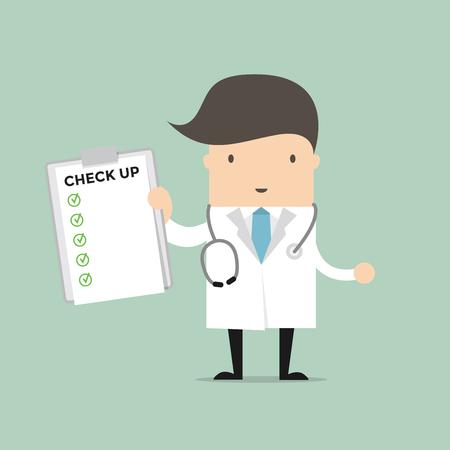 Arzt-Holding-up-Bericht Dokument prüfen. Vektor