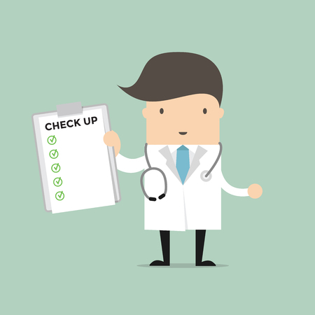 medical report: Medical Doctor Holding Check Up Report Document. Vector