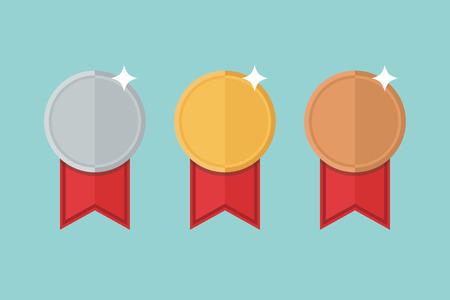 bronze medal: Medal set vector. Gold medal, silver medal, bronze medal.