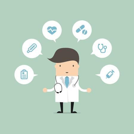 Doctor con iconos médica del vector Foto de archivo - 60388953