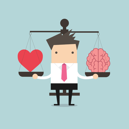 emotional love: Businessman with Heart and brain on scales vector