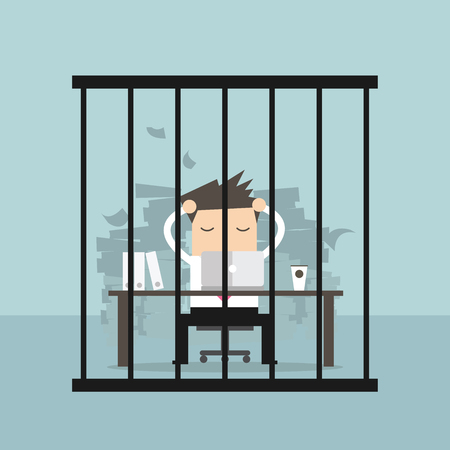delinquent: Businessman working in the prison. Vector