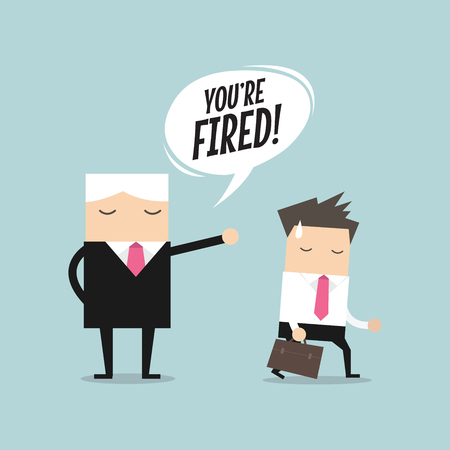 resign: Angry boss firing employee. Unemployment, crisis, jobless and employee job reduction concept vector Illustration