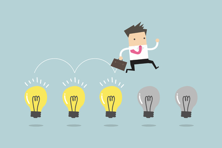 Businessman jump on light bulbs, vector