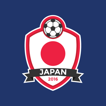 kickball: Japan soccer team with flag. vector Illustration