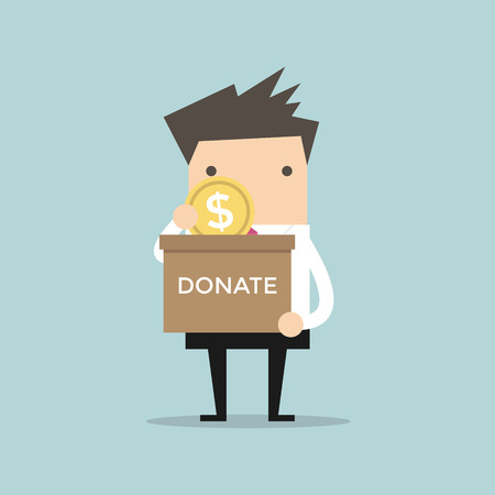 coin box: Businessman putting coin in the donation box. Vector Illustration