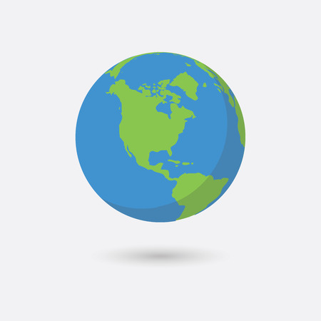 flat earth: Earth planet. Flat style vector illustration.