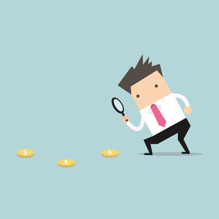 Businessman holding a magnifying glass follow dollar coins. vector Illustration