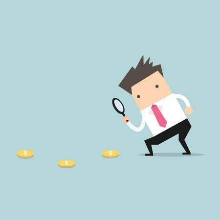 Businessman holding a magnifying glass follow dollar coins. vector Stock Illustratie